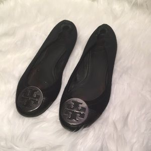TORY BURCH BLACK SUEDE BALLET FLATS SILVER 8.5